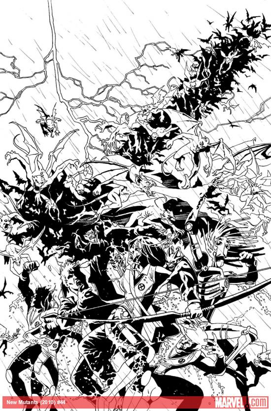 New Mutants #44 inked preview art by Leandro Fernandez