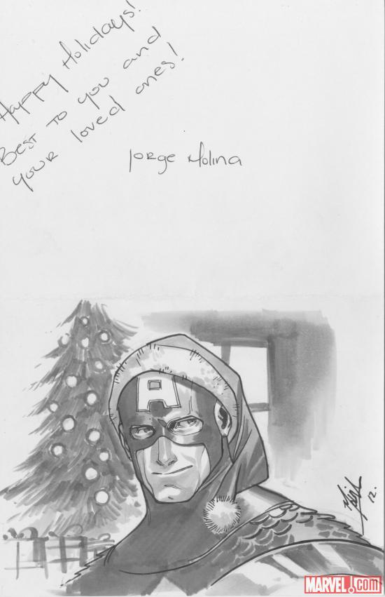 2012 Happy Holidays sketch card from Jorge Molina, featuring Captain America