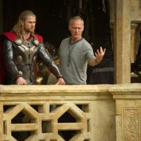 Star Chris Hemsworth and director Alan Taylor on the set of Thor: The Dark World