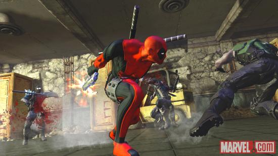 Deadpool fires on a flurry of opponents in the Deadpool video game