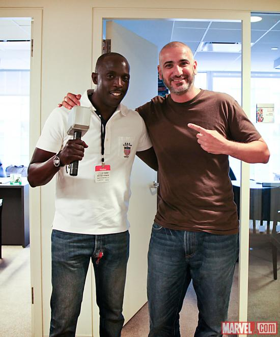 Actor Michael K. Williams with Marvel Editor-in-Chief Axel Alonso