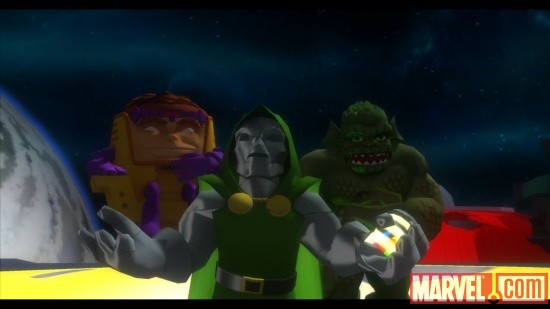Screenshot of Doctor Doom, Abomination and M.O.D.O.C. from Marvel Super Hero Squad: The Infinity Gauntlet
