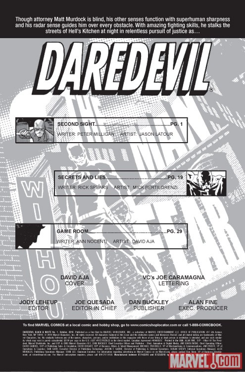 DAREDEVIL: BLACK AND WHITE credits page
