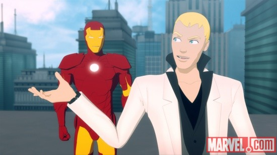 Iron Man and Justin Hammer talk things out in Iron Man: Armored Adventures