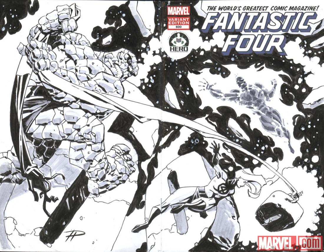 Fantastic Four #600 Hero Initiative variant cover by Phil Hester 