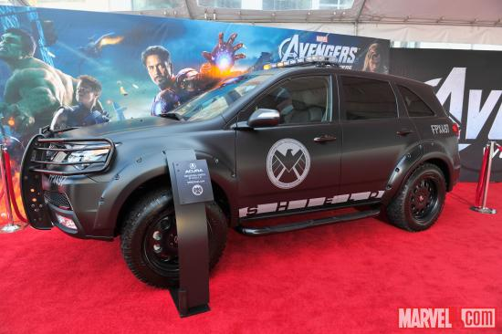 An Acura S.H.I.E.L.D. vehicle on the Avengers red carpet