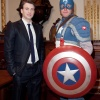 Chris Evans and Captain America at the NYSE. Photo By Ben Hider