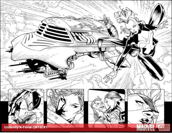 Uncanny X-Force (2013) #1 black and white preview art by Ron Garney