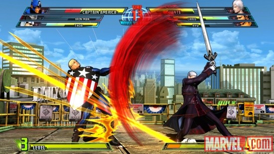 Screenshot of Captain America vs. Dante from Marvel vs. Capcom 3