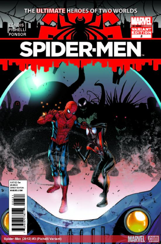 SPIDER-MEN 3 PICHELLI VARIANT (1 FOR 100, WITH DIGITAL CODE)