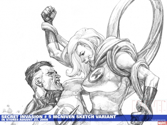 Secret Invasion #5 sketch variant cover by Steve McNiven