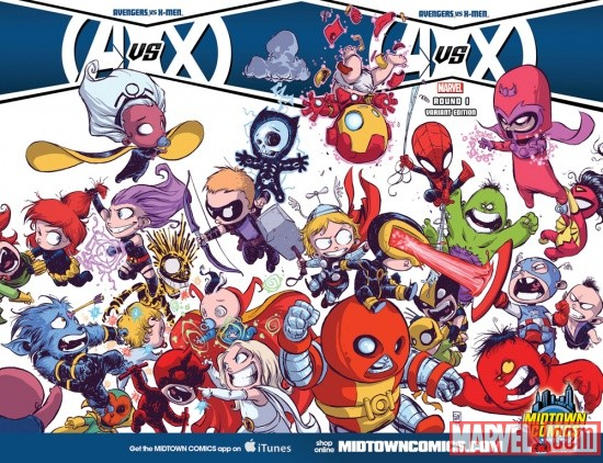 Avengers Vs. X-Men #1 Midtown Comics variant cover by Skottie Young