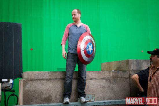 "Director Joss Whedon behind the scenes of ""Marvel's the Avengers"""