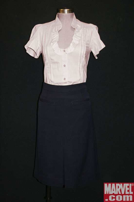 Betty Ross' Cream-Colored Blouse & Navy Skirt