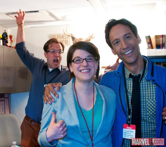 Marvel Comics Senior editor Nick Lowe, editor Jeanine Schafter and Danny Pudi