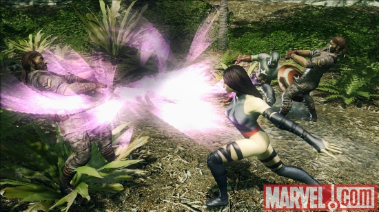 Psylocke and Captain America in Marvel: Ultimate Alliance 2