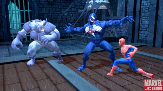 Rhino looks on as Venom and Spider-Man clash.