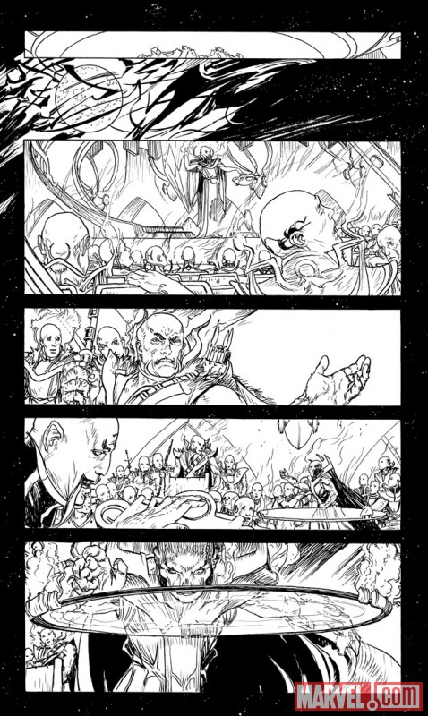 CHAOS WAR: CHAOS KING #1 black and white preview art by Michael Kaluta 2