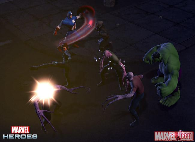 Screenshot of Black Widow, Captain America, and Hulk from Marvel Heroes
