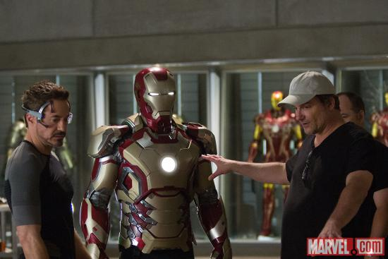Star Robert Downey, Jr. and director Shane Black on the set of Marvel's Iron Man 3