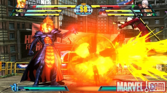 Screenshot of Dormammu and Dante from Marvel vs. Capcom 3