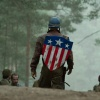 Chris Evans wears the shield in Captain America: The first Avenger