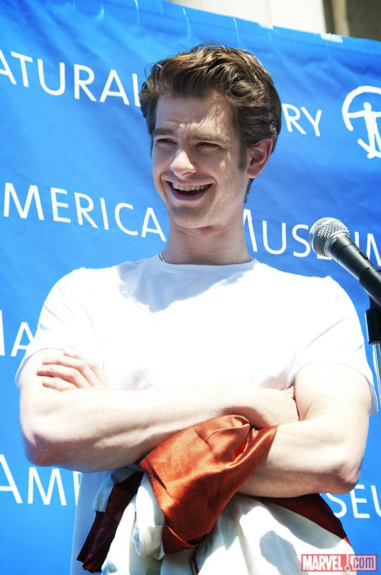 The Amazing Spider-Man Actor Andrew Garfield speaking to the crowd