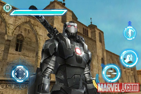 War Machine stands tall in the Iron Man 2 iPhone game