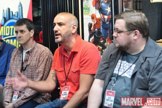 Mark Paniccia, Axel Alonso, and C.B. Cebulski at Midtown Comics' Meet the Publishers