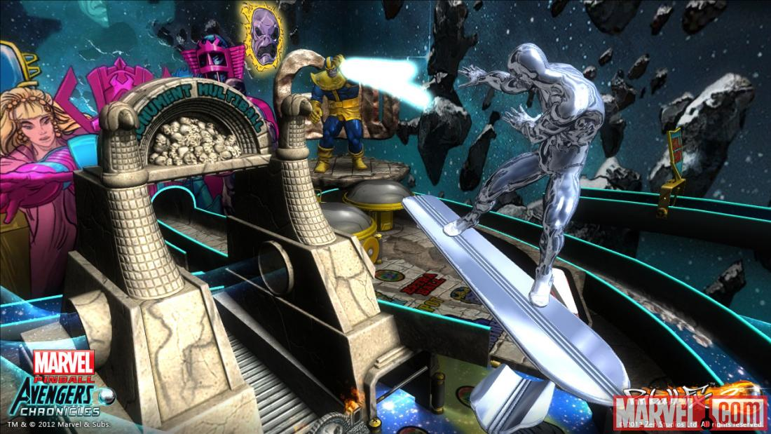 Screenshot from the Marvel Pinball: Avengers Chronicles Infinity Gauntlet table