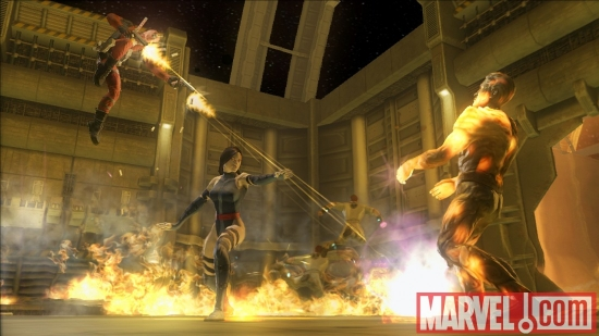 Psylocke and Deadpool battling Molten Man in Marvel: Ultimate Alliance 2