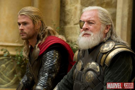 Chris Hemsworth and Anthony Hopkins star as Thor and Odin in Marvel's Thor: The Dark World