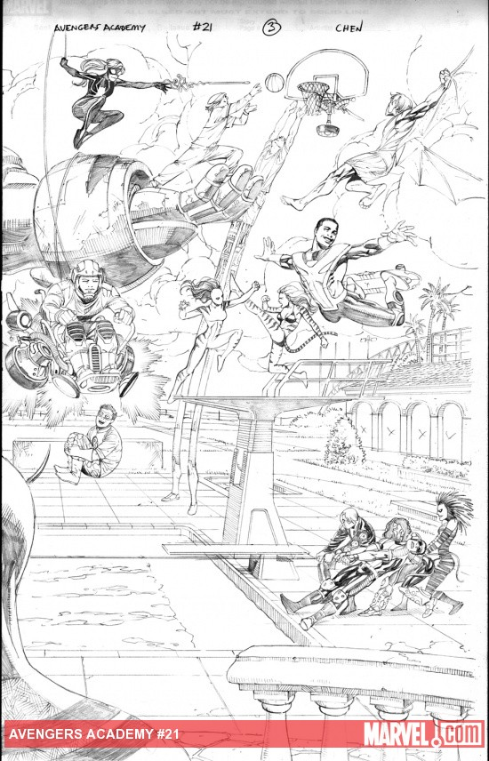 Avengers Academy #21 preview pencils by Sean Chen