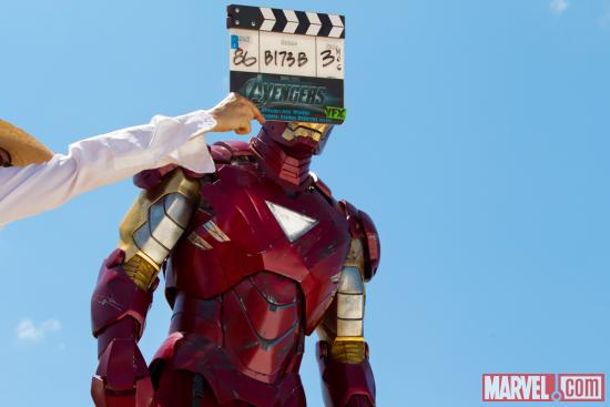 "Robert Downey, Jr. (Iron Man) behind the scenes of ""Marvel's the Avengers"""