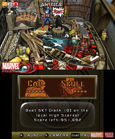Screenshot of the Captain America table from Marvel Pinball 3D