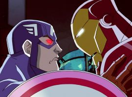 A possessed Captain America faces off with Iron Man in Marvel's Avengers Assemble