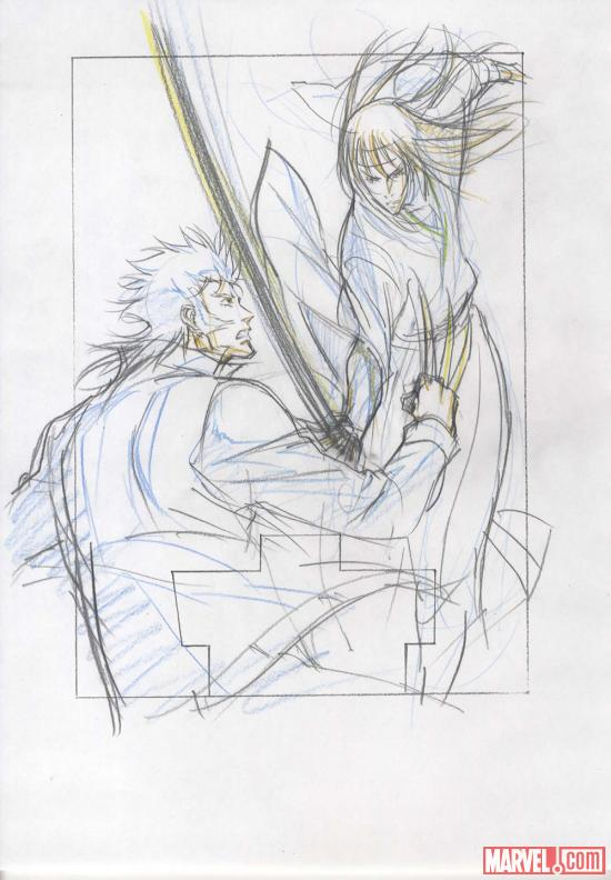 Concept art for the Wolverine anime DVD box art