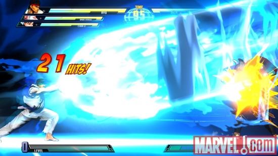 Screenshot of Thor and Ryu from ''Marvel vs. Capcom 3''