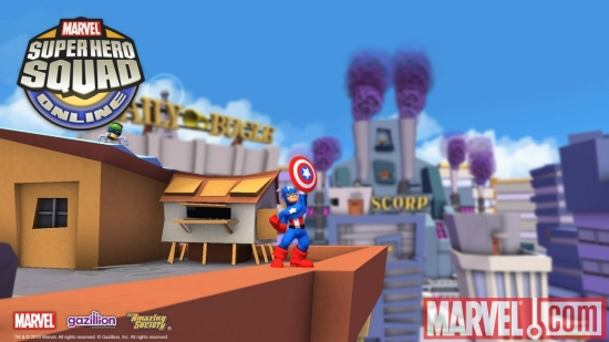 Screenshot of Captain America from Super Hero Squad Online