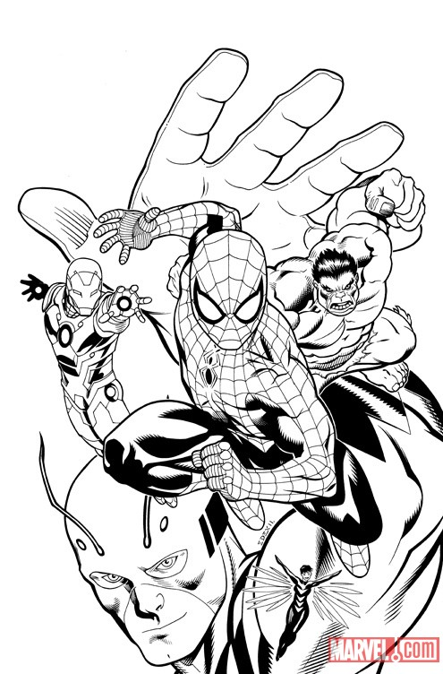 Spider-Man and the Avengers #1 cover inks