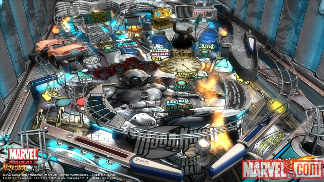 Screenshot of the Moon Knight table from Marvel Pinball: Vengeance and Virtue