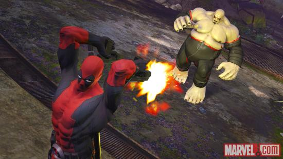 Deadpool fires blindly in the Deadpool video game