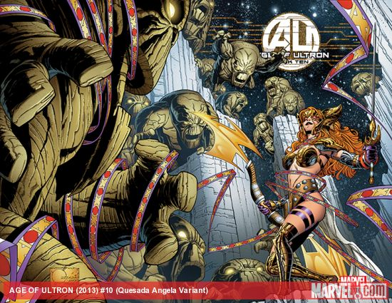 AGE OF ULTRON 10 QUESADA ANGELA VARIANT (1 FOR 50, WITH DIGITAL CODE, POLYBAGGED)