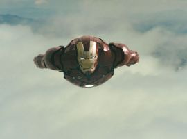 a post-battle Iron Man flies