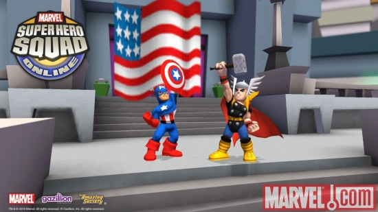 Screenshot of Captian America and Thor from Super Hero Squad Online