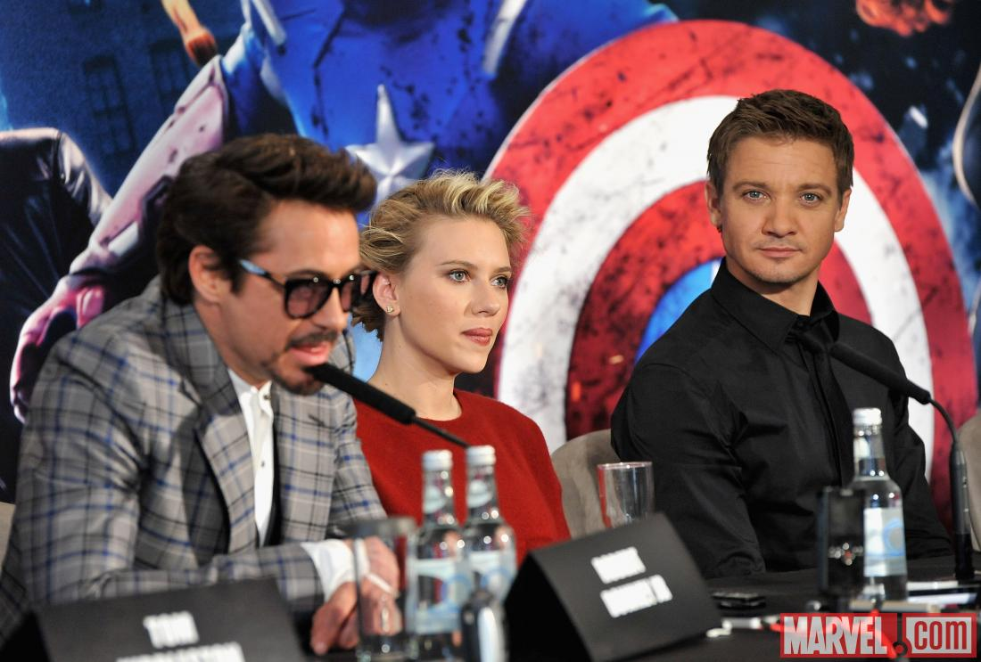 Robert Downey, Jr., Scarlett Johnansson and Jeremy Renner at the London premiere press conference of &quot;Marvel's The Avengers&quot;