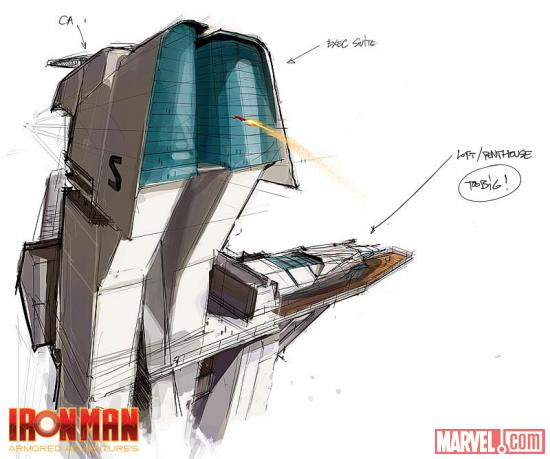 Season 1 concept art of Stark Tower from Iron Man: Armored Adventures