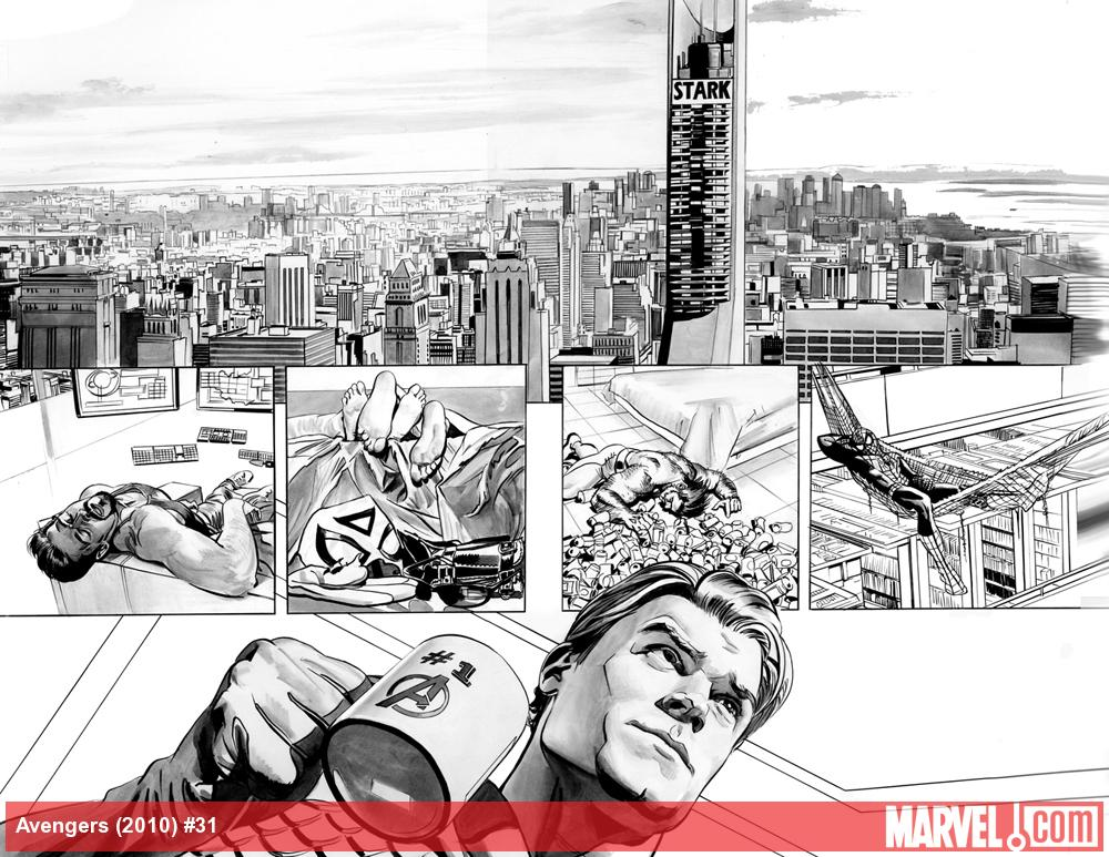 Avengers #31 preview inks by Mike Mayhew