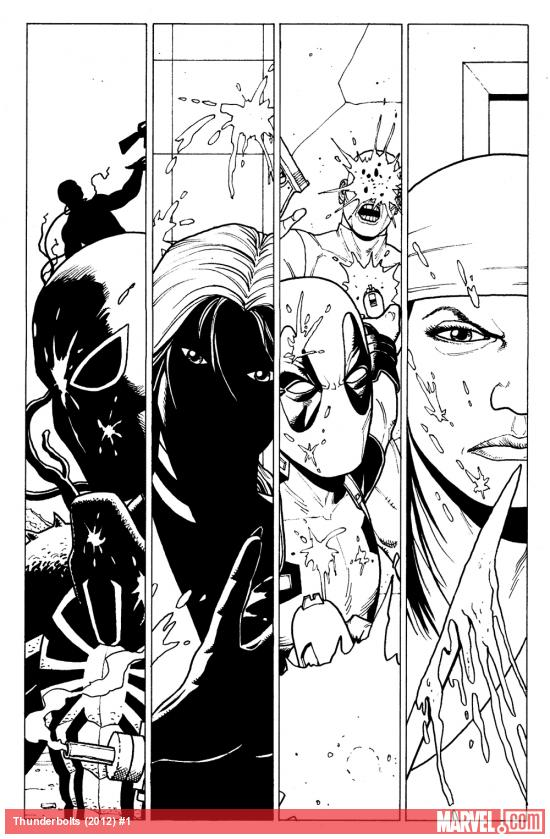 Thunderbolts (2012) #1 black and white preview art by Steve Dillon