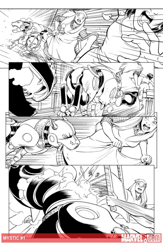 Mystic #1 black and white preview art by David Lopez